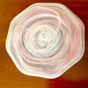 Pinkish Purple painted glass serving plate 33 cm